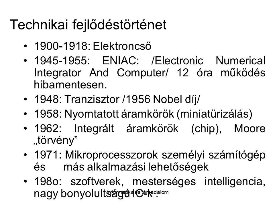 Informatika és társadalom Technikai fejlődéstörténet 1900-1918: Elektroncső 1945-1955: ENIAC: /Electronic Numerical Integrator And Computer/ 12 óra működés hibamentesen.