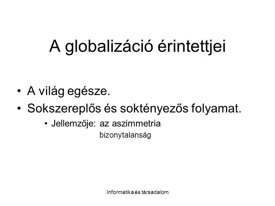 Informatika és társadalom A globalizáció érintettjei A világ egésze. Sokszereplős és soktényezős folyamat. Jellemzője: az aszimmetria bizonytalanság