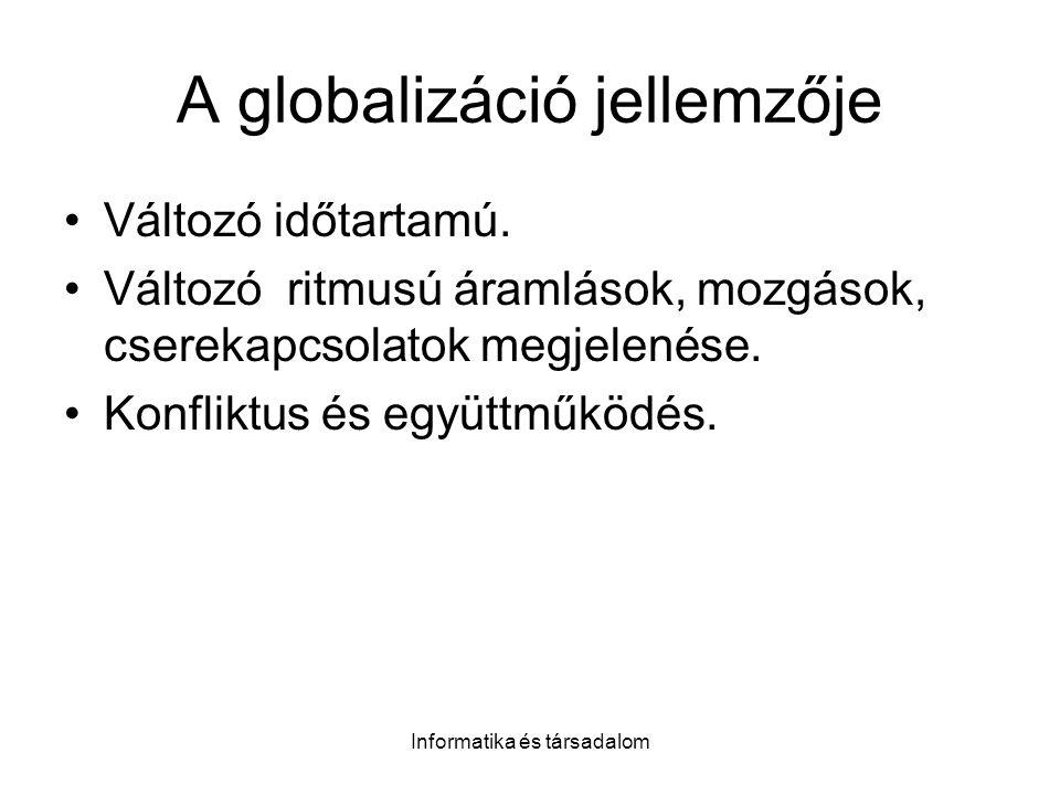 Informatika és társadalom A globalizáció jellemzője Változó időtartamú. Változó ritmusú áramlások, mozgások, cserekapcsolatok megjelenése. Konfliktus