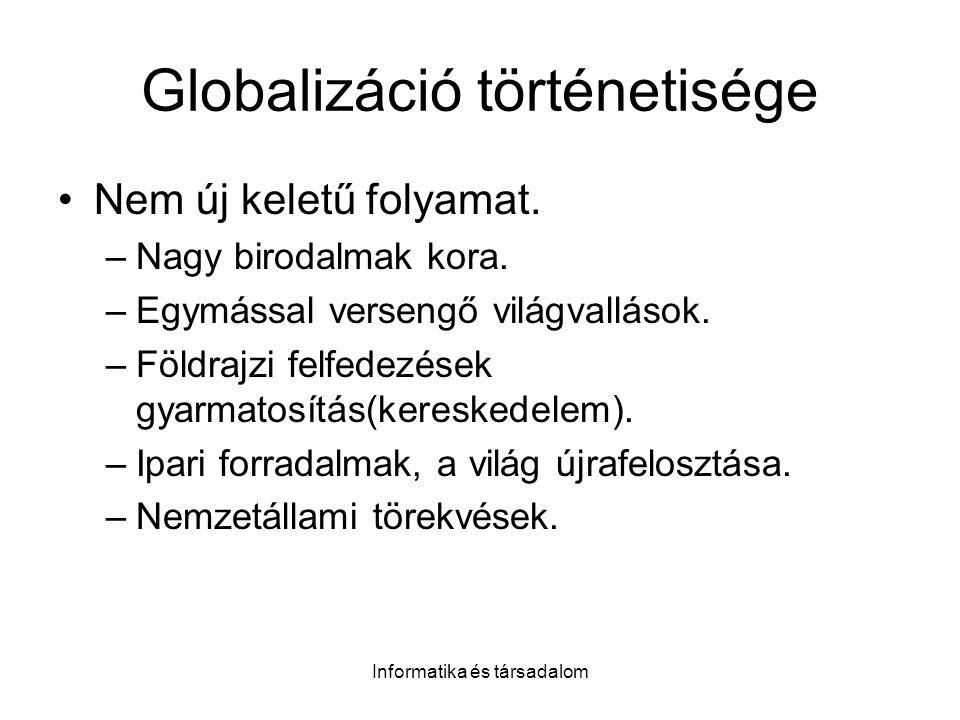 Informatika és társadalom Globalizáció történetisége Nem új keletű folyamat. –Nagy birodalmak kora. –Egymással versengő világvallások. –Földrajzi felf