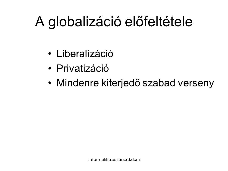 Informatika és társadalom A globalizáció előfeltétele Liberalizáció Privatizáció Mindenre kiterjedő szabad verseny