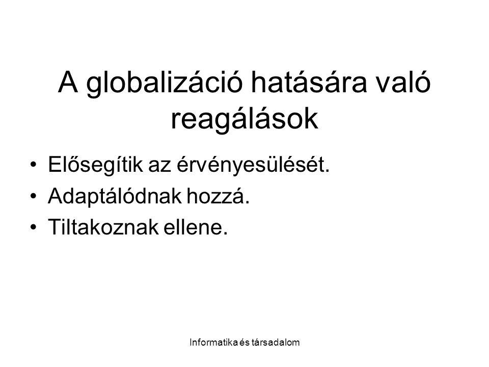 Informatika és társadalom A globalizáció hatására való reagálások Elősegítik az érvényesülését. Adaptálódnak hozzá. Tiltakoznak ellene.