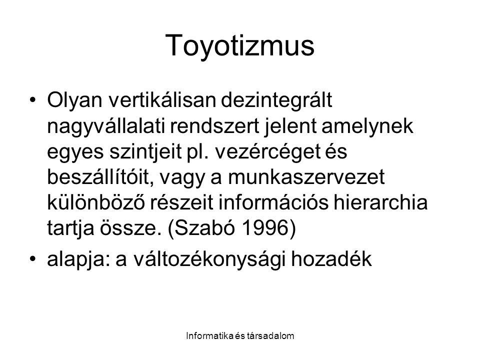 Informatika és társadalom Toyotizmus Olyan vertikálisan dezintegrált nagyvállalati rendszert jelent amelynek egyes szintjeit pl. vezércéget és beszáll