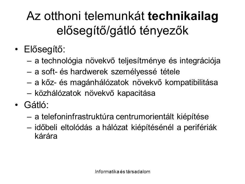 Informatika és társadalom Az otthoni telemunkát technikailag elősegítő/gátló tényezők Elősegítő: –a technológia növekvő teljesítménye és integrációja –a soft- és hardwerek személyessé tétele –a kőz- és magánhálózatok növekvő kompatibilitása –közhálózatok növekvő kapacitása Gátló: –a telefoninfrastruktúra centrumorientált kiépítése –időbeli eltolódás a hálózat kiépítésénél a perifériák kárára