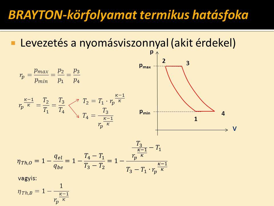  Levezetés a nyomásviszonnyal (akit érdekel) p max V 1 2 4 3 p vagyis: p min