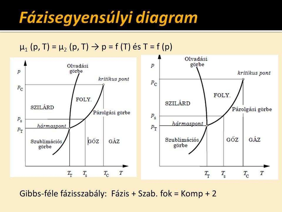 µ 1 (p, T) = µ 2 (p, T) → p = f (T) és T = f (p) Gibbs-féle fázisszabály: Fázis + Szab.