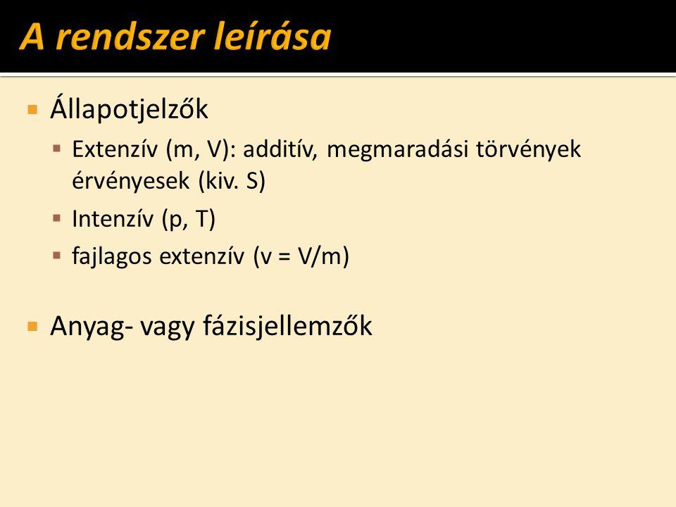  Állapotjelzők  Extenzív (m, V): additív, megmaradási törvények érvényesek (kiv.