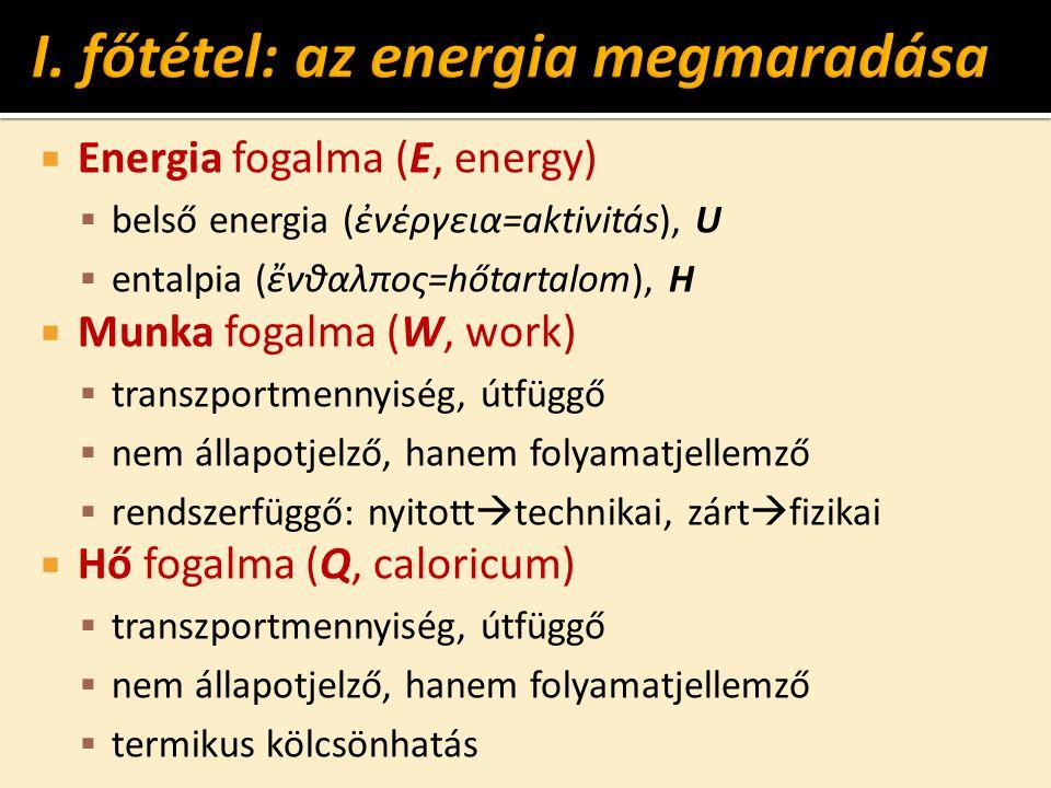  Energia fogalma (E, energy)  belső energia (ἐνέργεια=aktivitás), U  entalpia (ἔνθαλπος=hőtartalom), H  Munka fogalma (W, work)  transzportmennyiség, útfüggő  nem állapotjelző, hanem folyamatjellemző  rendszerfüggő: nyitott  technikai, zárt  fizikai  Hő fogalma (Q, caloricum)  transzportmennyiség, útfüggő  nem állapotjelző, hanem folyamatjellemző  termikus kölcsönhatás