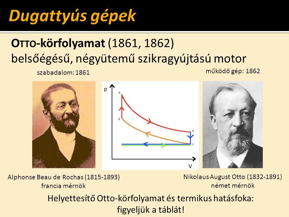 O TTO -körfolyamat (1861, 1862) belsőégésű, négyütemű szikragyújtású motor Nikolaus August Otto (1832-1891) német mérnök Alphonse Beau de Rochas (1815