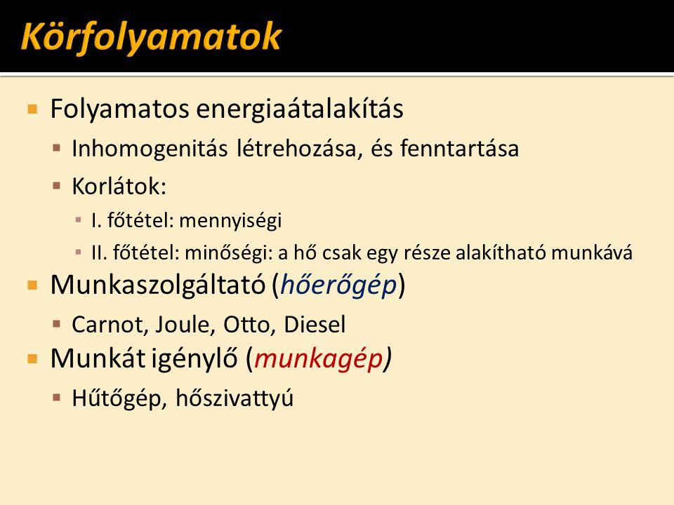  Folyamatos energiaátalakítás  Inhomogenitás létrehozása, és fenntartása  Korlátok: ▪ I. főtétel: mennyiségi ▪ II. főtétel: minőségi: a hő csak egy