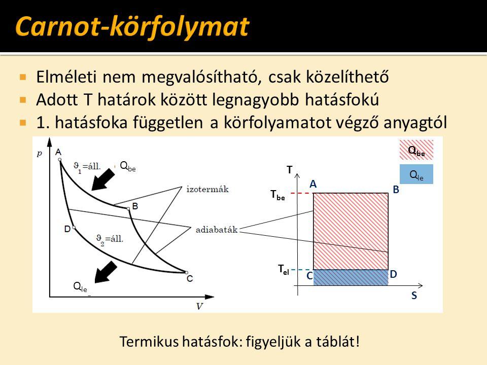  Elméleti nem megvalósítható, csak közelíthető  Adott T határok között legnagyobb hatásfokú  1. hatásfoka független a körfolyamatot végző anyagtól