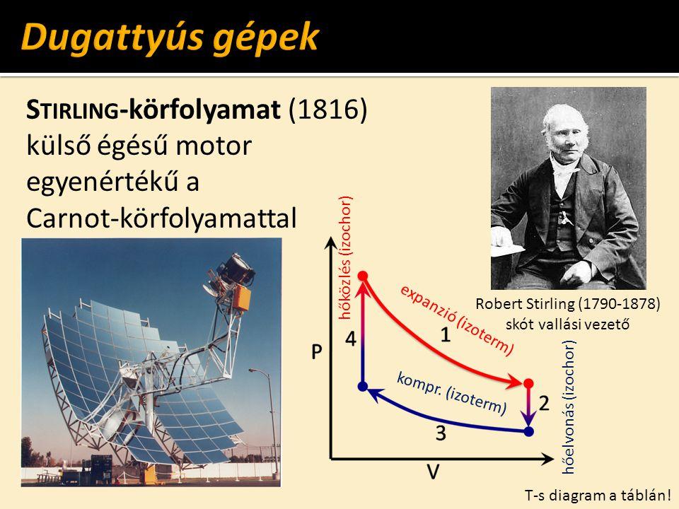 E RICSSON -körfolyamat (1853) külső égésű motor egyenértékű a Carnot-körfolyamattal John Ericsson (1803-1889) svéd-amerikai gépészmérnök p-V diagram a táblán!
