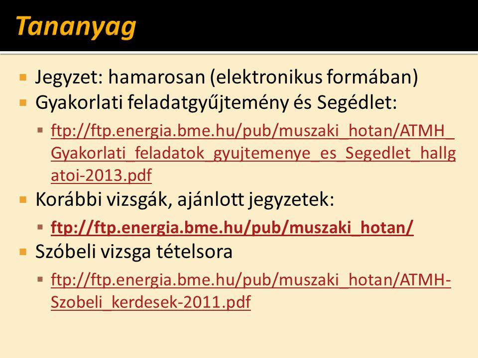  Jegyzet: hamarosan (elektronikus formában)  Gyakorlati feladatgyűjtemény és Segédlet:  ftp://ftp.energia.bme.hu/pub/muszaki_hotan/ATMH_ Gyakorlati