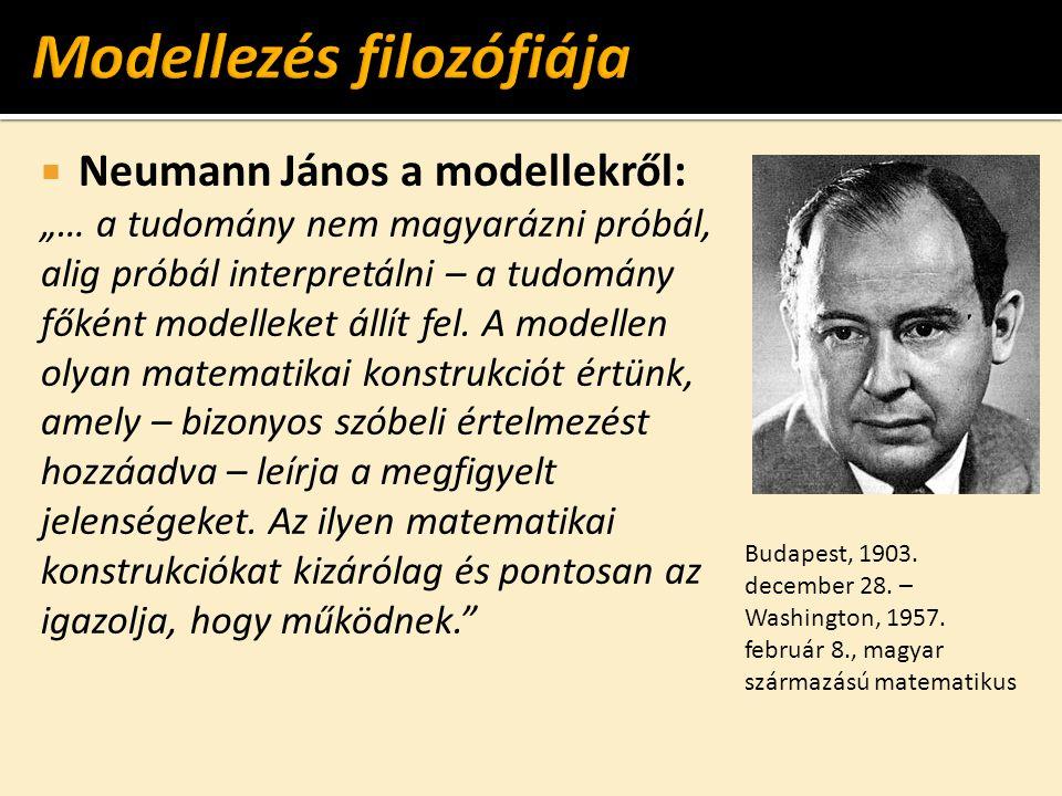 """ Neumann János a modellekről: """"… a tudomány nem magyarázni próbál, alig próbál interpretálni – a tudomány főként modelleket állít fel. A modellen oly"""
