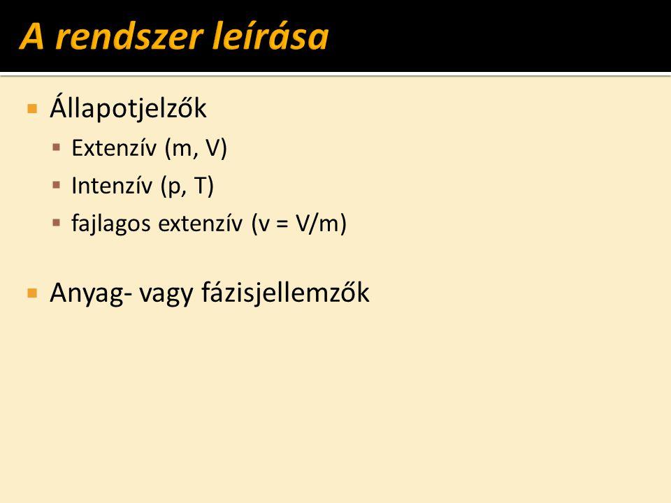  Állapotjelzők  Extenzív (m, V)  Intenzív (p, T)  fajlagos extenzív (v = V/m)  Anyag- vagy fázisjellemzők