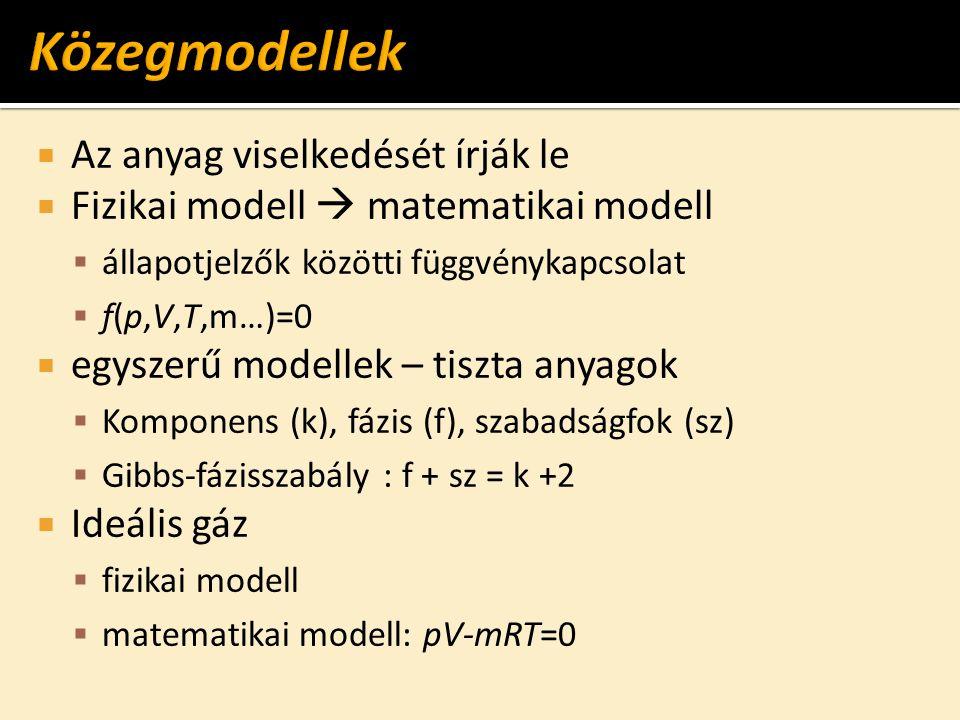  Az anyag viselkedését írják le  Fizikai modell  matematikai modell  állapotjelzők közötti függvénykapcsolat  f(p,V,T,m…)=0  egyszerű modellek –