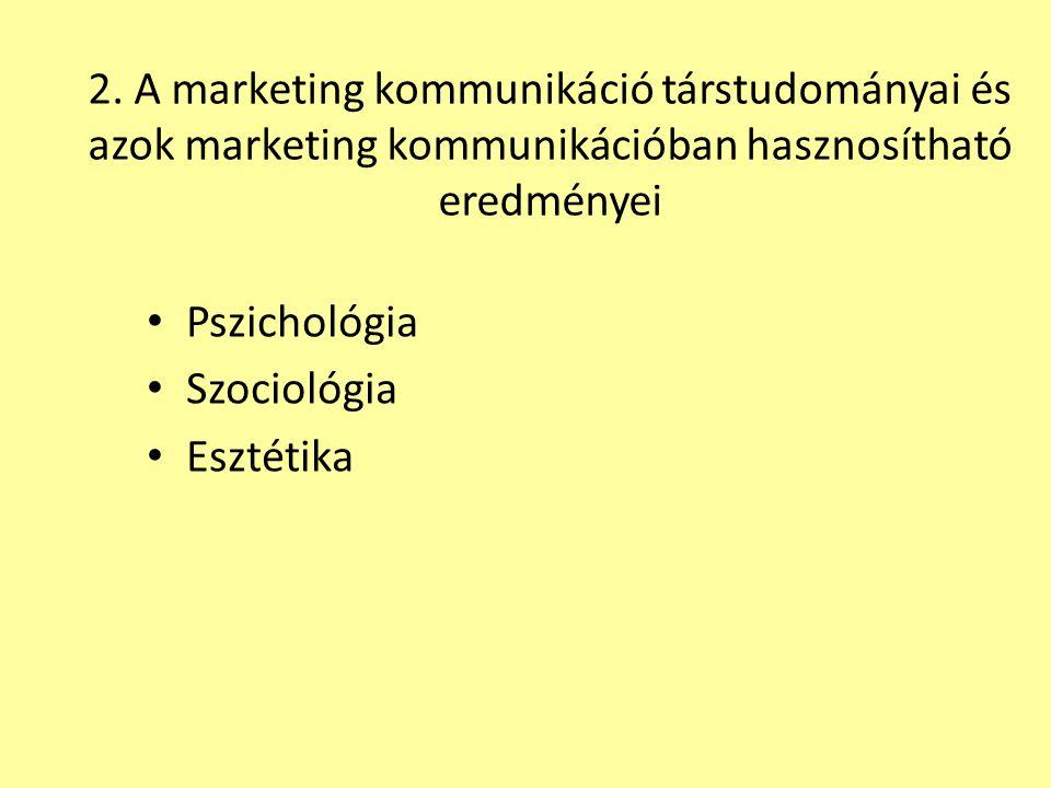 2. A marketing kommunikáció társtudományai és azok marketing kommunikációban hasznosítható eredményei Pszichológia Szociológia Esztétika