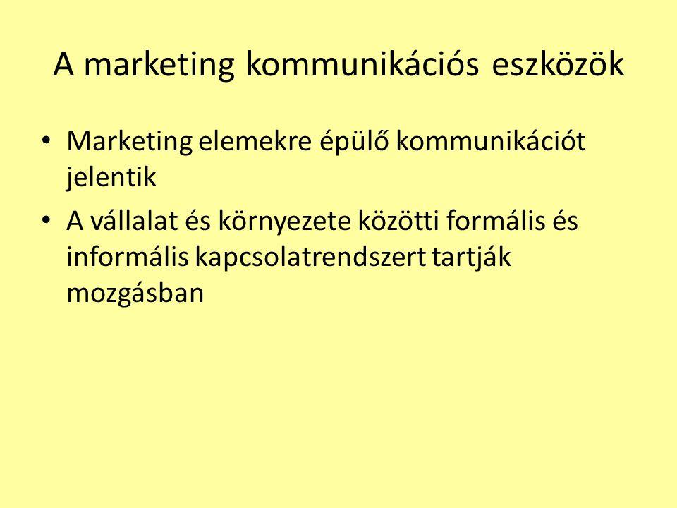 A marketing kommunikációs eszközök Marketing elemekre épülő kommunikációt jelentik A vállalat és környezete közötti formális és informális kapcsolatre