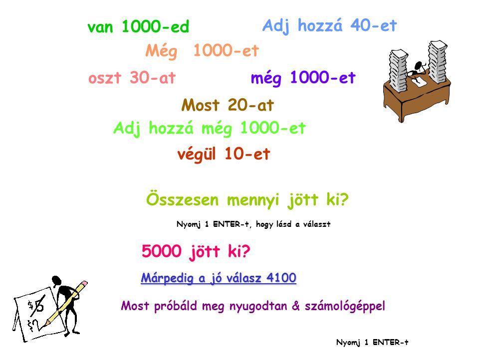 van 1000-ed Adj hozzá 40-et Még 1000-et oszt 30-at még 1000-et Most 20-at Adj hozzá még 1000-et végül 10-et Összesen mennyi jött ki.