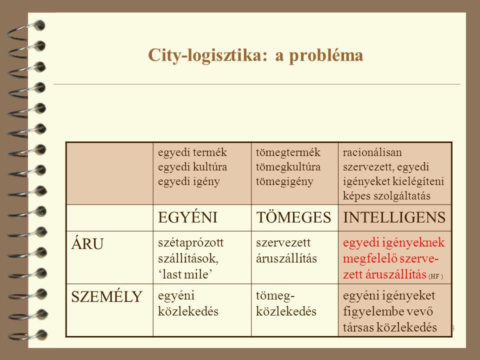 14 4 A probléma: szervezetten megoldani a diszperz városi szállításokat 4 Uniós city-logisztika tanulmányok városkörnyéki áruelosztó központok majd az intermodális teherforgalmi központok (parkok, fuvar-falvak) kialakítását javasolják 4 A valóságban ritkán vált be a séma: nincsenek típus-megoldások: a tapasztalatokból lehet (kell) tanulni, de minden város egyedi megoldásokat igényel.