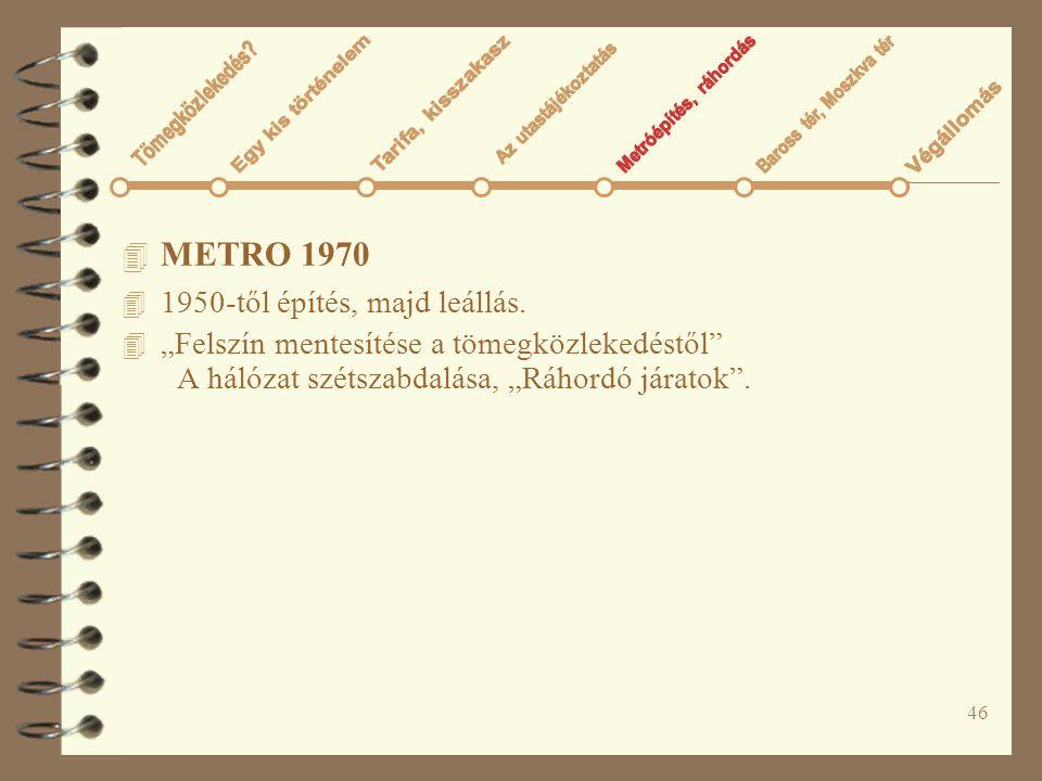 """46 4 METRO 1970 4 1950-től építés, majd leállás. 4 """"Felszín mentesítése a tömegközlekedéstől"""" A hálózat szétszabdalása, """"Ráhordó járatok""""."""