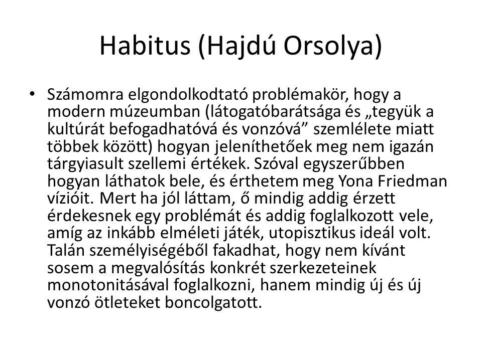 """Habitus (Hajdú Orsolya) Számomra elgondolkodtató problémakör, hogy a modern múzeumban (látogatóbarátsága és """"tegyük a kultúrát befogadhatóvá és vonzóv"""