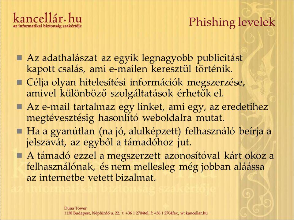 Phishing levelek Az adathalászat az egyik legnagyobb publicitást kapott csalás, ami e-mailen keresztül történik. Célja olyan hitelesítési információk