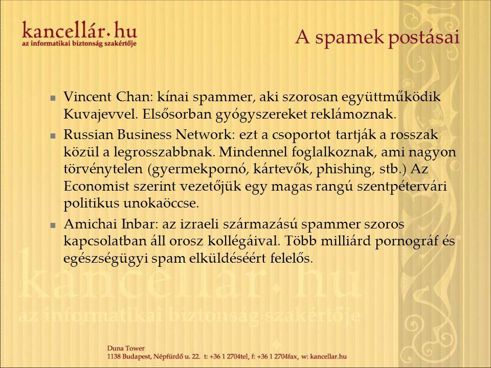 A spamek postásai Vincent Chan: kínai spammer, aki szorosan együttműködik Kuvajevvel. Elsősorban gyógyszereket reklámoznak. Russian Business Network: