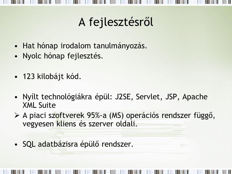 A fejlesztésről Hat hónap irodalom tanulmányozás. Nyolc hónap fejlesztés. 123 kilobájt kód. Nyílt technológiákra épül: J2SE, Servlet, JSP, Apache XML