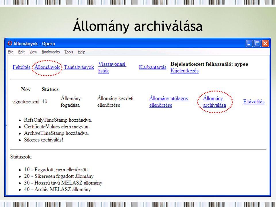 Állomány archiválása