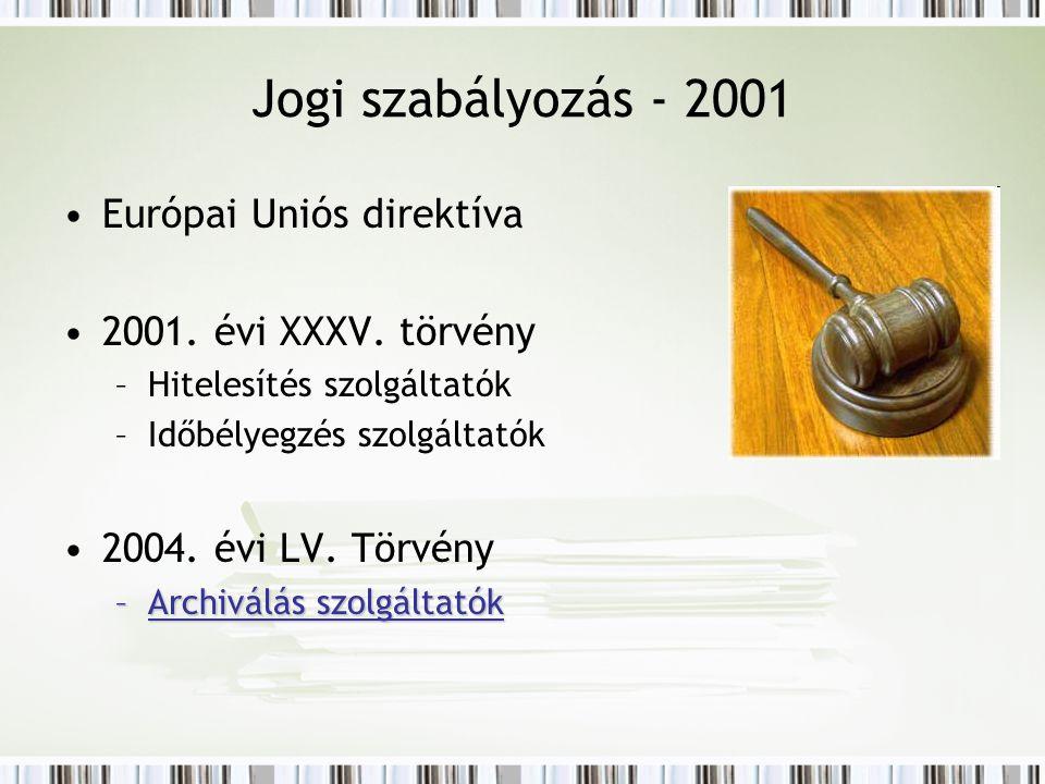 Jogi szabályozás - 2001 Európai Uniós direktíva 2001. évi XXXV. törvény –Hitelesítés szolgáltatók –Időbélyegzés szolgáltatók 2004. évi LV. Törvény –Ar