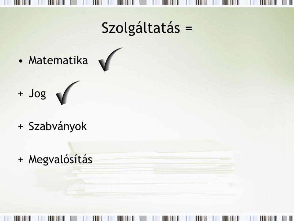 Szolgáltatás = Matematika +Jog +Szabványok +Megvalósítás