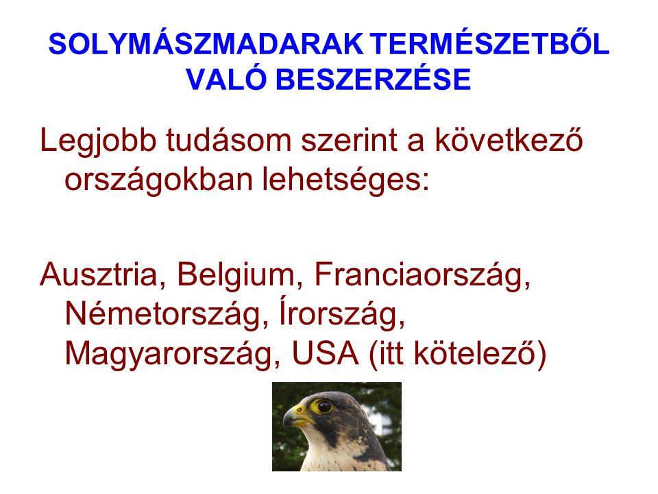 SOLYMÁSZMADARAK TERMÉSZETBŐL VALÓ BESZERZÉSE Legjobb tudásom szerint a következő országokban lehetséges: Ausztria, Belgium, Franciaország, Németország, Írország, Magyarország, USA (itt kötelező)