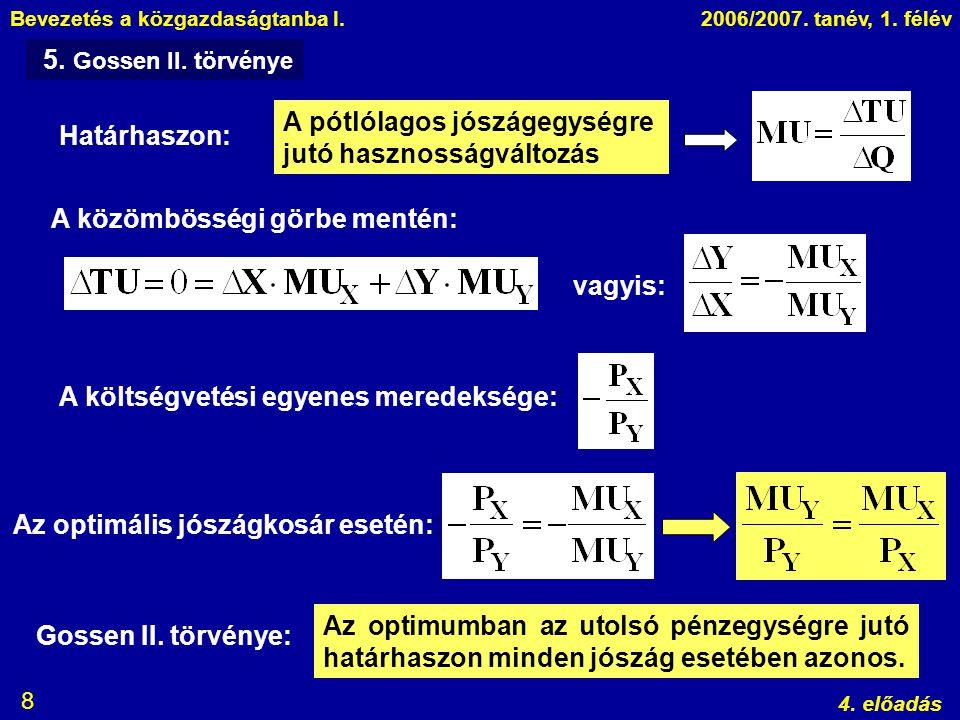 Bevezetés a közgazdaságtanba I.2006/2007. tanév, 1. félév 4. előadás 8 5. Gossen II. törvénye Határhaszon: A pótlólagos jószágegységre jutó hasznosság