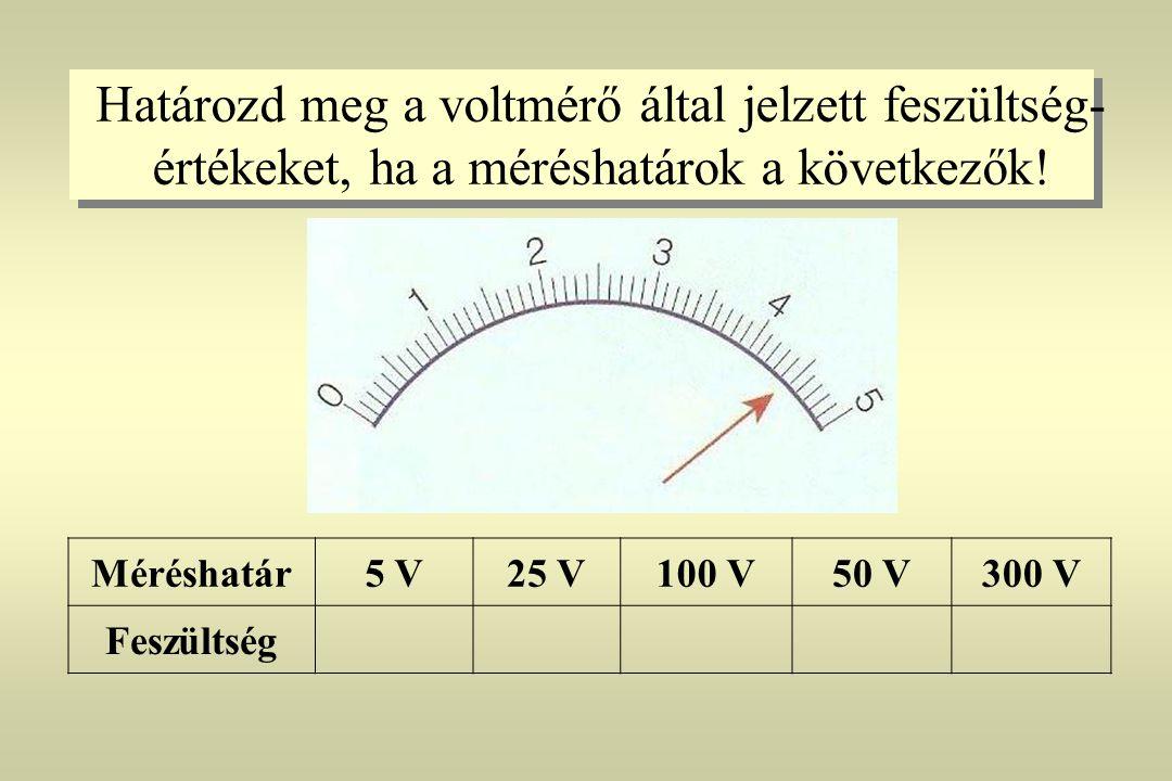 Határozd meg a voltmérő által jelzett feszültség- értékeket, ha a méréshatárok a következők! Méréshatár5 V25 V100 V50 V300 V Feszültség