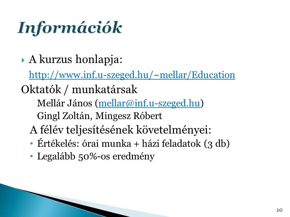  A kurzus honlapja: http://www.inf.u-szeged.hu/~mellar/Education Oktatók / munkatársak Mellár János (mellar@inf.u-szeged.hu) Gingl Zoltán, Mingesz Róbert A félév teljesítésének követelményei: Értékelés: órai munka + házi feladatok (3 db) Legalább 50%-os eredmény 10