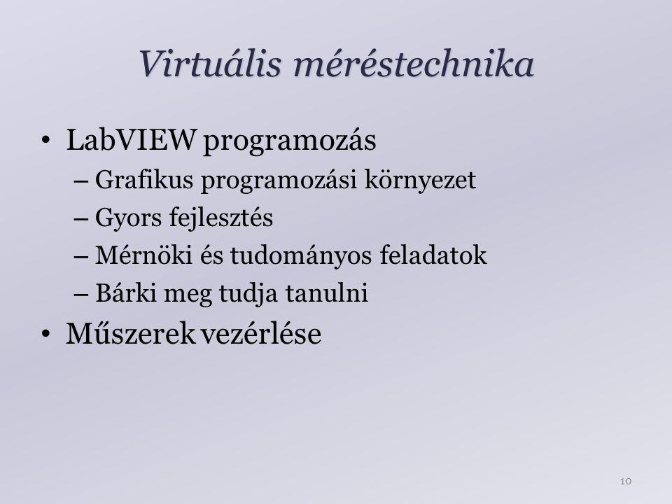 Virtuális méréstechnika LabVIEW programozás – Grafikus programozási környezet – Gyors fejlesztés – Mérnöki és tudományos feladatok – Bárki meg tudja tanulni Műszerek vezérlése 10