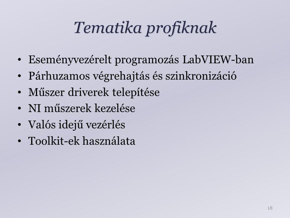 Tematika profiknak Eseményvezérelt programozás LabVIEW-ban Párhuzamos végrehajtás és szinkronizáció Műszer driverek telepítése NI műszerek kezelése Valós idejű vezérlés Toolkit-ek használata 18