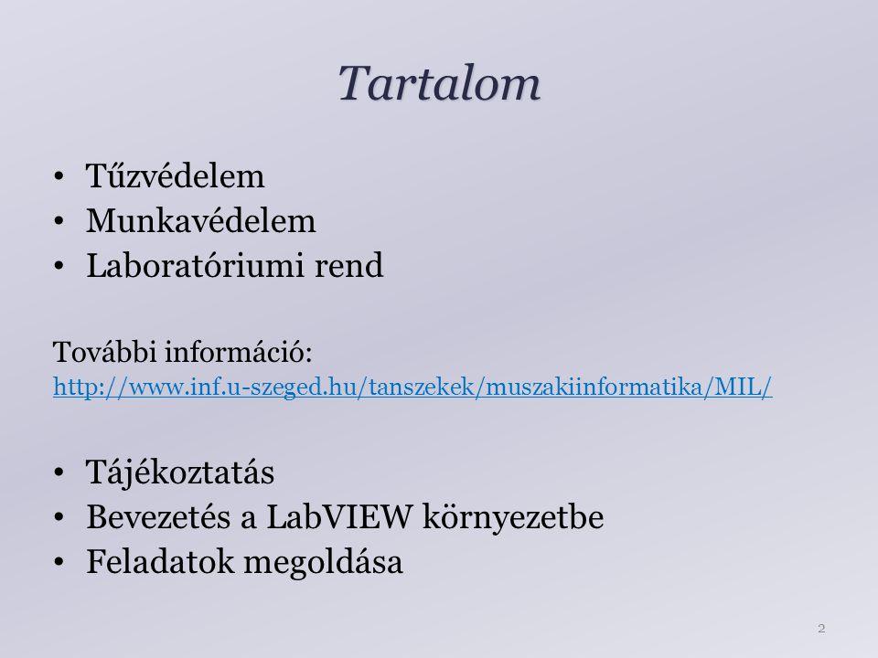 Tartalom Tűzvédelem Munkavédelem Laboratóriumi rend További információ: http://www.inf.u-szeged.hu/tanszekek/muszakiinformatika/MIL/ Tájékoztatás Bevezetés a LabVIEW környezetbe Feladatok megoldása 2