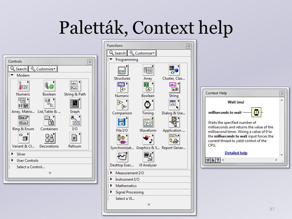 Paletták, Context help 27