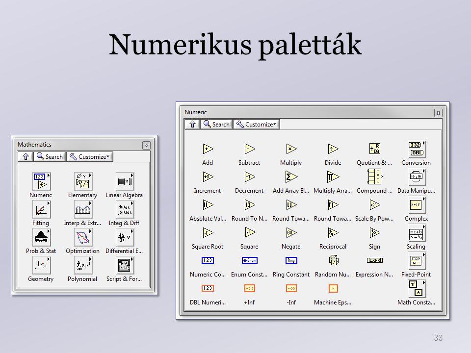 Numerikus paletták 33