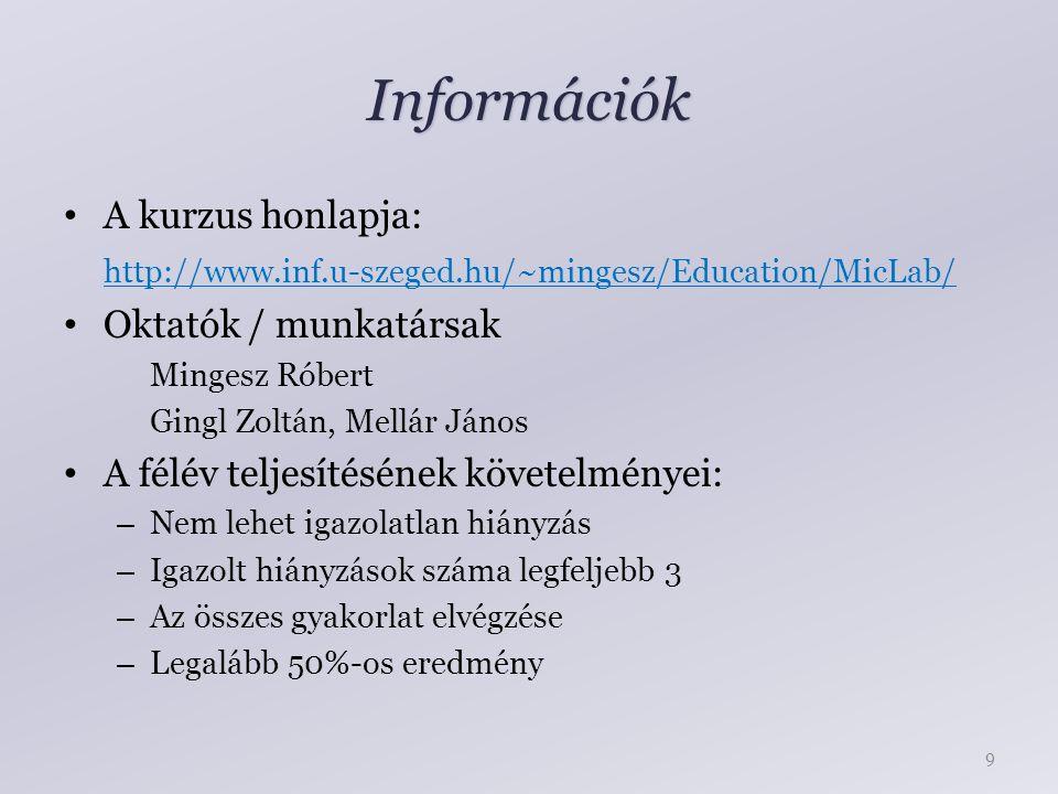Információk A kurzus honlapja: http://www.inf.u-szeged.hu/~mingesz/Education/MicLab/ Oktatók / munkatársak Mingesz Róbert Gingl Zoltán, Mellár János A