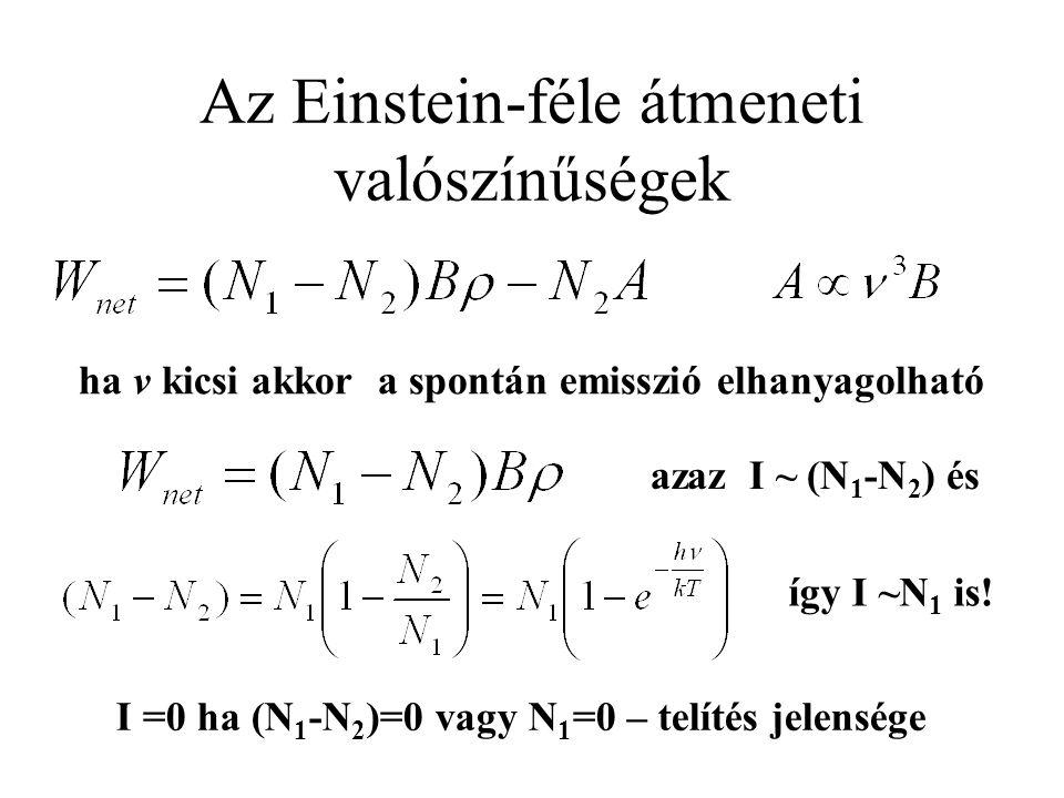 Az Einstein-féle átmeneti valószínűségek azaz I ~ (N 1 -N 2 ) és ha v kicsi akkor a spontán emisszió elhanyagolható így I ~N 1 is! I =0 ha (N 1 -N 2 )