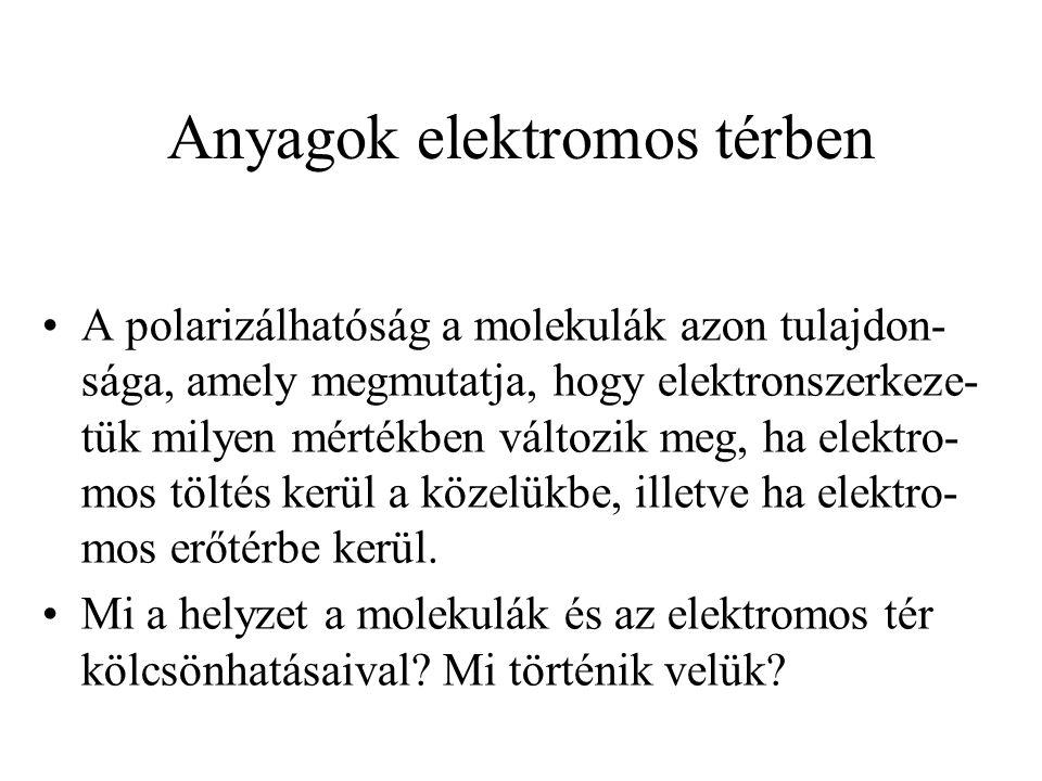 Anyagok elektromos térben A polarizálhatóság a molekulák azon tulajdon- sága, amely megmutatja, hogy elektronszerkeze- tük milyen mértékben változik m