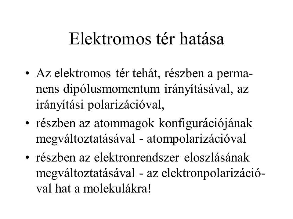 Elektromos tér hatása Az elektromos tér tehát, részben a perma- nens dipólusmomentum irányításával, az irányítási polarizációval, részben az atommagok