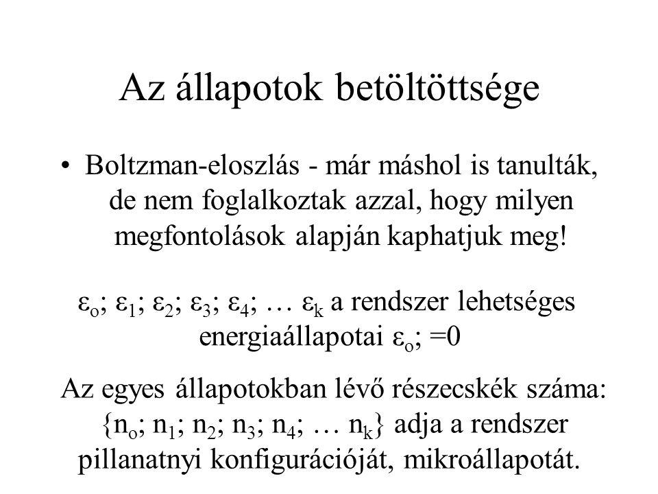 Az állapotok betöltöttsége Boltzman-eloszlás - már máshol is tanulták, de nem foglalkoztak azzal, hogy milyen megfontolások alapján kaphatjuk meg! ε o