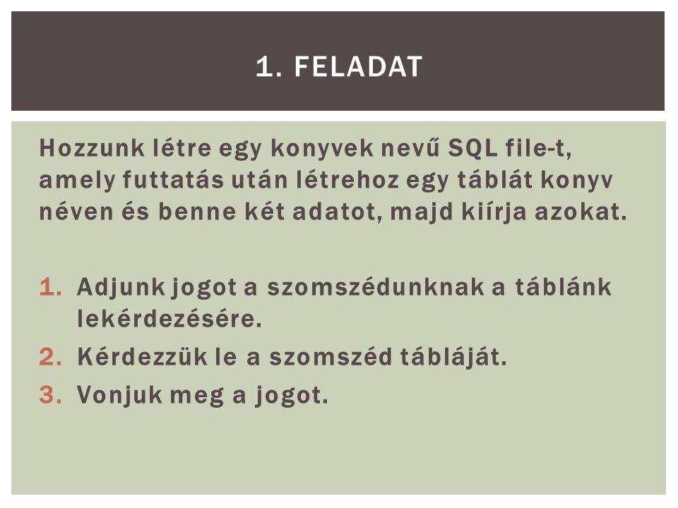 Hozzunk létre egy konyvek nevű SQL file-t, amely futtatás után létrehoz egy táblát konyv néven és benne két adatot, majd kiírja azokat.