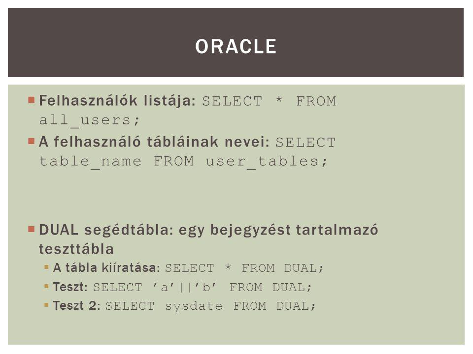  Felhasználók listája: SELECT * FROM all_users;  A felhasználó tábláinak nevei: SELECT table_name FROM user_tables;  DUAL segédtábla: egy bejegyzést tartalmazó teszttábla  A tábla kiíratása: SELECT * FROM DUAL;  Teszt: SELECT 'a'||'b' FROM DUAL;  Teszt 2: SELECT sysdate FROM DUAL; ORACLE
