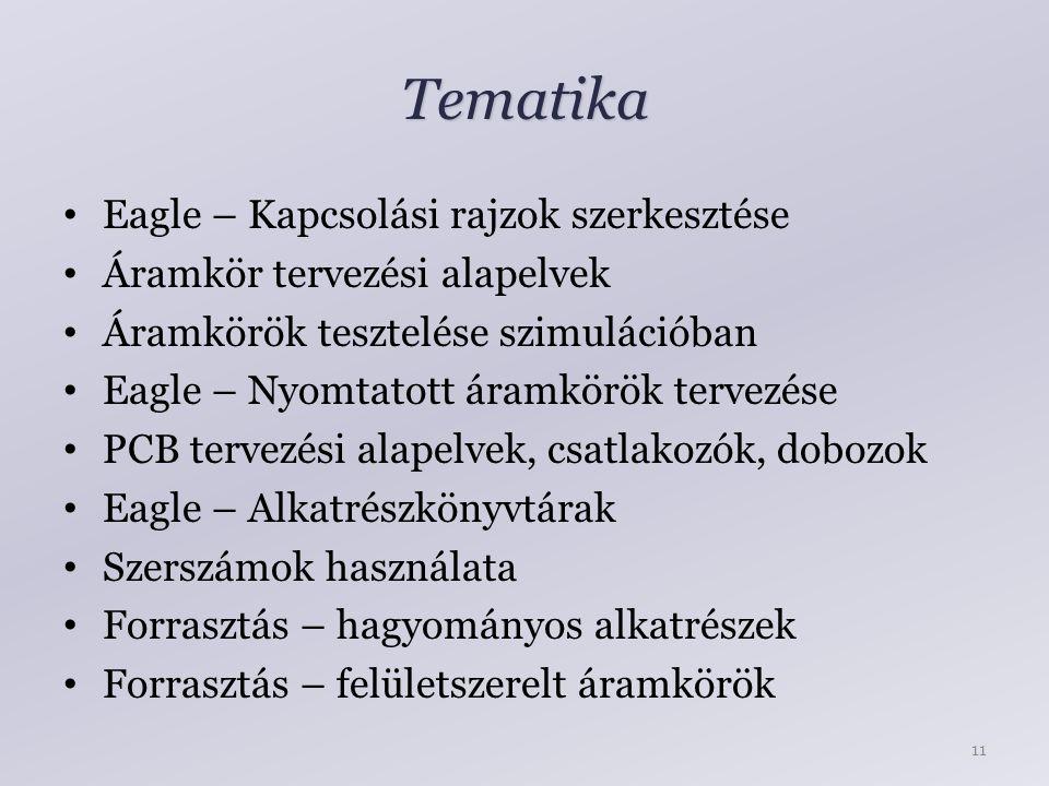 Tematika Eagle – Kapcsolási rajzok szerkesztése Áramkör tervezési alapelvek Áramkörök tesztelése szimulációban Eagle – Nyomtatott áramkörök tervezése