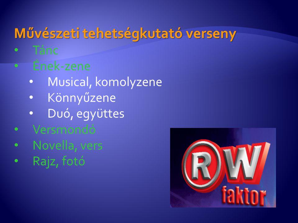 Művészeti tehetségkutató verseny Tánc Ének-zene Musical, komolyzene Könnyűzene Duó, együttes Versmondó Novella, vers Rajz, fotó